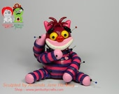 Mossy McWonderCat. Cheshire Cat Voodoo Doll. Hand Sculpted from Polymer Clay.