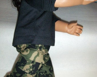 Skulls and Skateboard  Camouflage Cargo Shorts with Short Sleeve Black Tee fits American Girl and Similar 18 inch Dolls.