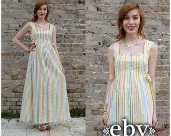 Hippie Dress Hippy Dress Festival Dress Handmade Dress Striped Dress Vintage 70s Striped Hippie Maxi Dress Summer Dress White Dress