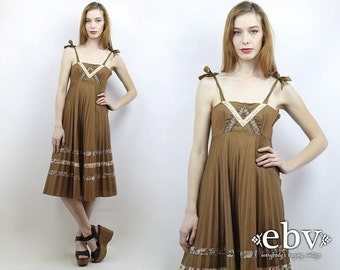 Hippie Dress Hippy Dress Boho Dress Festival Dress Hippie Sundress Vintage 70s Young Edwardian Brown Pleated Hippie Boho Summer Dress S M