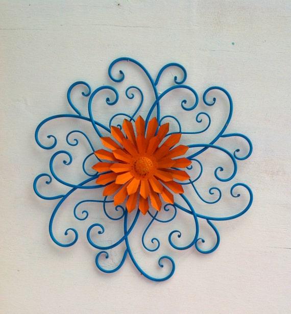 teal orange scrolled iron wall flower metal yard art. Black Bedroom Furniture Sets. Home Design Ideas
