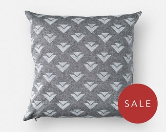 Geometric Pillow Cover - Block Print - 16x16 Square - Chambray Linen, Cotton Blend - White, Non-Toxic, Water-Based Ink - Invisible Zipper