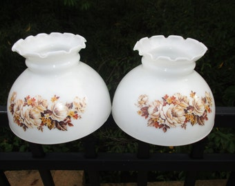 Pair Of Vintage Milk Glass Lamp Shades/Globes With Floral Design