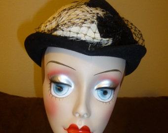 Hat Vintage Black with Feathers and Netting