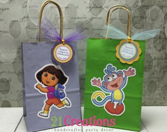 Dora the Explorer and Boots Favor Bags with Tags