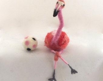 Needle felted Flamingo wire armature pink bird totem animal uniqe gift cottage chic decor