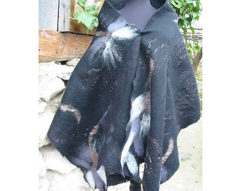 Wrap Black Cape ,Woman Wrap Shawl,Wool Felt Cape,Felt Wrap,Wool Shawll,Wool Capelet,European Cape,Nuno Felt Cape