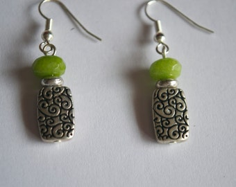 Green peridot gemstone bead dangle earrings with pewter scroll metal beads - under 10 - gift for her