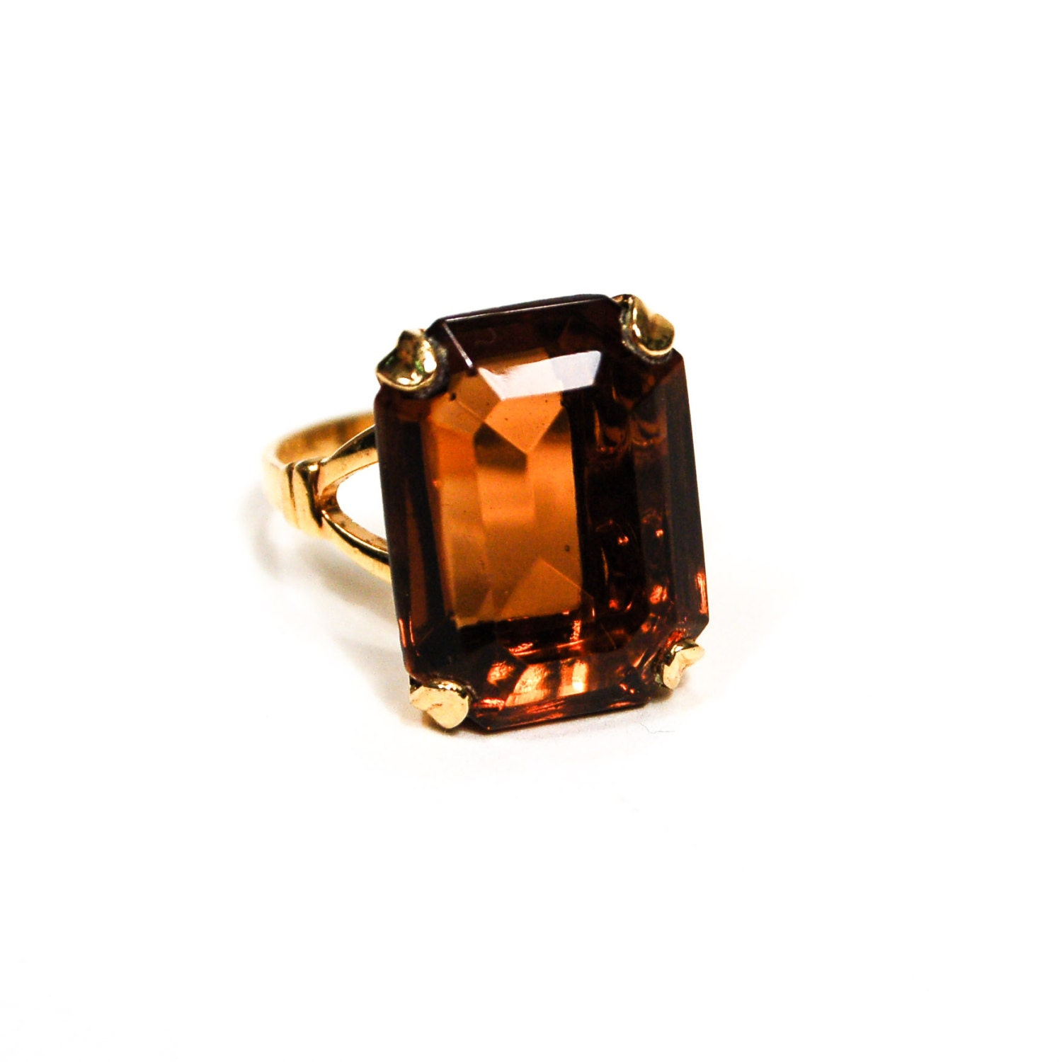 smokey topaz ring emerald cut cocktail statement