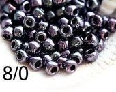 10g TOHO Seed beads, size 8/0, Metallic Amethyst Gun Metal, N 90, purple japanese beads - S993
