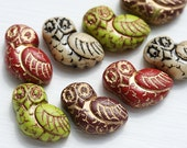 8pc Fancy Owl Beads Mix, Czech glass pressed beads, Earring Pairs, Rustic Natural Colors, Large Bird Bead - 2055