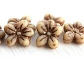 Matte Beige flower beads, czech glass, Five petal flower, Old Patina, daisy, pressed beads - 6pc - 14mm - 2605