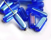 Blue Stick beads, Lustered Sapphire Blue, AB finish, glass beads, long czech beads, tube, Rectangular - 15x5mm - 15Pc - 2112