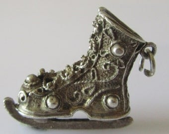Large Silver Ice Skate Charm or Pendant