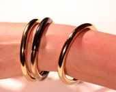 Vintage 80s Bangle Set Gold Tone Bangles Stackable Bangles French Jewelry