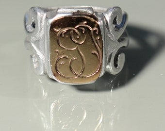 Antique Signet Ring Mix Pewter Gold Tone Ring Monogram Ring Large Ring Victorian French Jewelry Ring Size 8.75 US Mens Ring