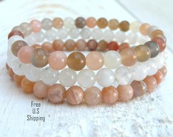 Simple Mixed Moonstone, set of 3, mala bracelets, Yoga bracelets, bracelet set, Reiki Charged, stacking malas, Moonstone bracelet, Malas