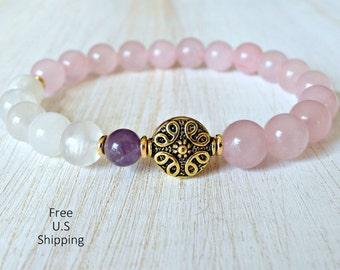 Grade A Moonstone, Amethyst,Rose Quartz, healing bracelet, calming, Yoga Bracelet, Meditation bracelet, Reiki,  mala, Moonstone bracelet