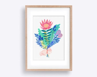 Freshly Picked Bouquet A4 Wall Art Print - Painted Flowers including King Protea, Thistle and Leaves