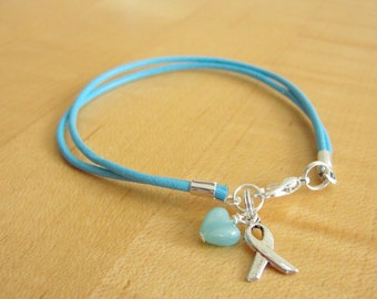Light Blue Awareness Bracelet (Leather) - Adrenal Insufficiency, Chronic Illness, Cushings Syndrome, Scleroderma & More