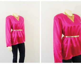 Vintage Top Silk Blouse 80s Honey Bee 100% Silk Liquid Satin Blouse Hot Pink Shoulder Pads Size 8 Modern S - M
