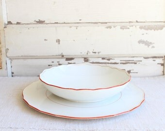 Vintage White China Red Gold Stripe Round Cake Serving Plate Platter Tray and Low Serving Bowl