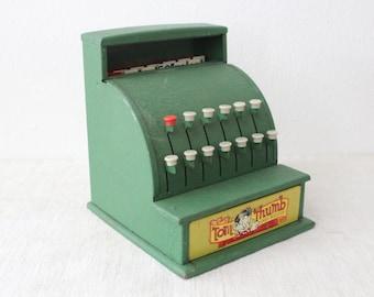 Vintage Tom Thumb Green Metal Children's Toy Cash Register