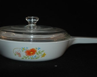 """Corning Ware Wildflowers 6.5"""" Inch Skillet with Lid Frying Pan #P-83-B Vintage"""