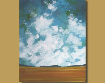 semi abstract landscape with clouds, prairie landscape, turquoise, abstract painting, landscape painting, cloud painting, gift for him 16x20