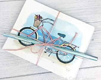 Beach Cruiser Bicycle Note Cards, Set of 6, Notecards Gift Set with envelopes, Vintage Beach Bike Art Cards