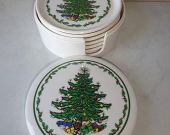Vintage Plastic Coasters Set of Six 6 Christmas Tree Design