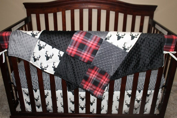 Red Plaid Crib Bedding