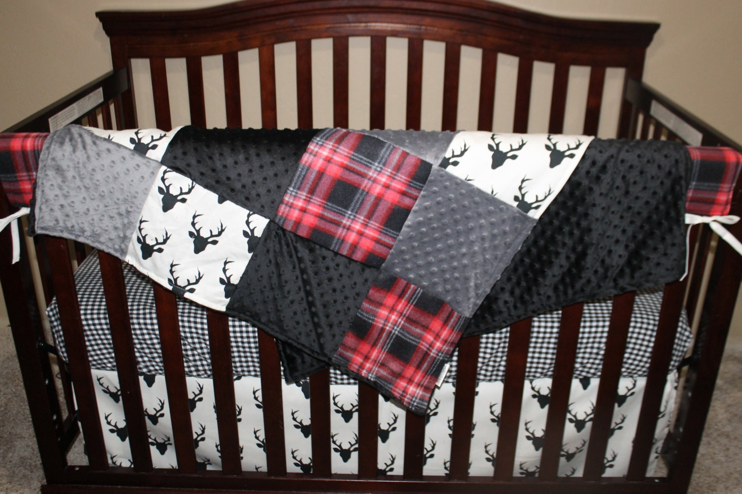 Baby Crib Bedding Black Buck Deer Lodge Red Black Plaid