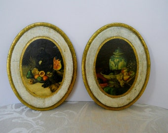 Vintage Italian Florentine Oval Wood Wall Plaques with Fruit