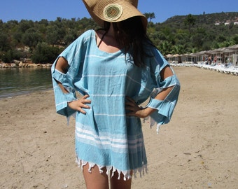 Cotton dress, beach cover up, muumuu, swim beach wrap, cruise caftan, resort wear, Blue summer dress, blue tassel, fringed dress tunic.