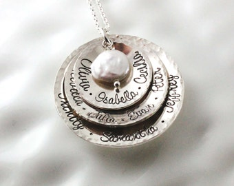 Grandmother's necklace - Personalized jewelry - Name necklace - Hand stamped sterling silver - Gift for grandma - Coin pearl- Multiple names