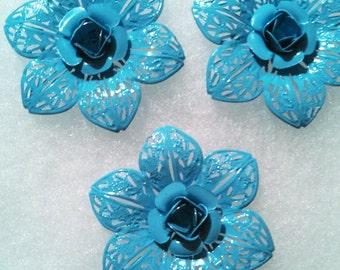 3 Baby Blue Metal Flower Pendants