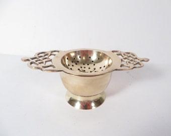 Vintage Brass Tea Strainer and Holder