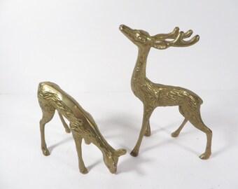Vintage Pair of Brass Deer -  Buck and Doe Brass Reindeer Deer