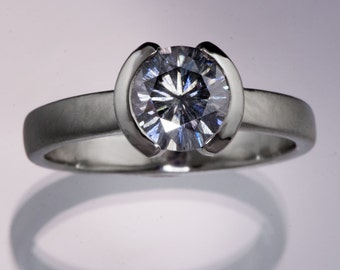 1ct Gray Moissanite Palladium Engagement Ring with Half Bezel Setting, Ready to ship size 4 to 7