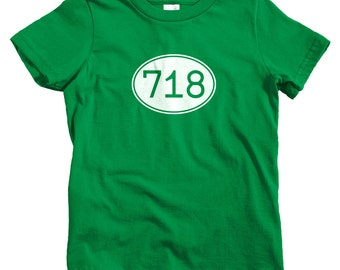Kids Area Code 718 T-shirt - Baby, Toddler, and Youth Sizes - New York City Tee, Brooklyn, Queens, Bronx, Staten Island - 4 Colors