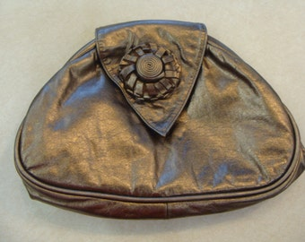 BRONZE LEATHER PURSE handbag clutch 1990's 90's