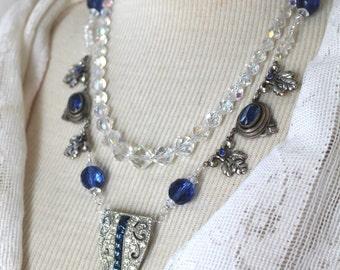 Statement Assemblage Necklace, Bridal Blue, wedding, rhinestone, jewelry, antique, vintage, stunning gorgeous, multi strand, sapphire