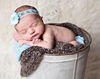 Aqua Blue Baby Girl Headband...Vintage Headband...Lace Headband...Baby Headband...Photography Prop...Newborn...Aqua and Gold