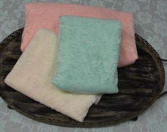 Stretch Lace Wraps...Mint Peach and Ivory...Photography Props...Newborn Wraps...Baby Wraps...Lace Wraps...Three Newborn Wraps
