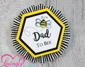Name Tags/Corsages - Bumble Bee Yellow, Black & White Stripes Cardstock Corsages - Gender Reveal - Modern Mommy To Bee, Daddy To Bee