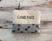 Game face makeup bag, workout bag