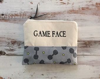 Game face makeup bag, workout bag
