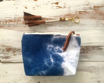 Indigo dyed canvas pouch, shibori dyed clutch