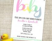 Girl Baby Shower Invitation Pink Polka Dot Modern Design Digital Printable File with Professional Printing Option